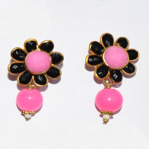 Black With Pink Pachi Earrings