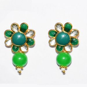 White With Green Pachi Earrings
