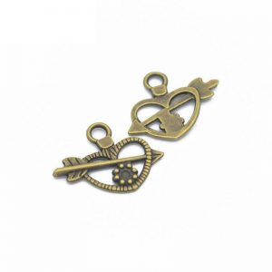 Antique Bronze Love Arrow Charm