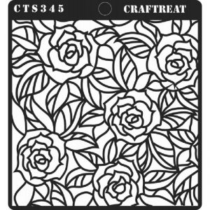 CrafTreat Stencil - Rose with Leaf Background