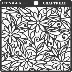CrafTreat Stencil - Daisy with Leaf Background