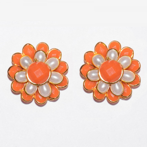 Orange With White Double Layer Pachi Earrings