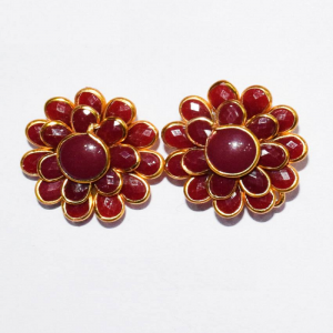 Maroon Double Layer Pachi Earrings