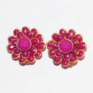 Dark Pink Double Layer Pachi Earrings