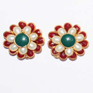 Maroon With White Double Layer Pachi Earrings