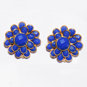 Blue Double Layer Pachi Earrings