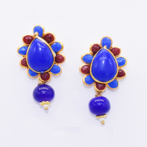 Royal Blue With Maroon Pachi Earrings