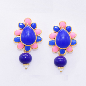 Royal Blue With Pink Pachi Earrings