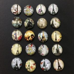 Mixed Colour Eiffel Tower Glass Cabochons