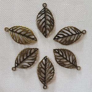 Antique Bronze Leaf Charm