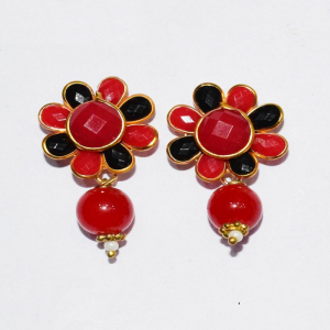 Red With Black Pachi Earrings