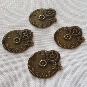 Antique Bronze Clock With Gear Type Charm