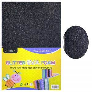 Black Colour Glitter Foam Sheets Pack