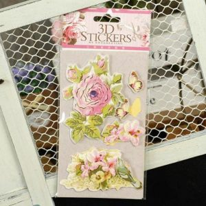 Retro Style 3D Stickers - Roses With Leaf