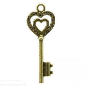Antique Bronze Key With Heart Charm