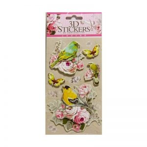 Retro Style 3D Stickers - Birds With Butterfly