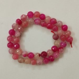 Semi Precious Double Shade Pink with White Zed Agate Beads