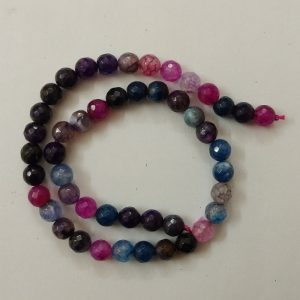 Semi Precious Double Shade Hot Pink with Blue Zed Agate Beads