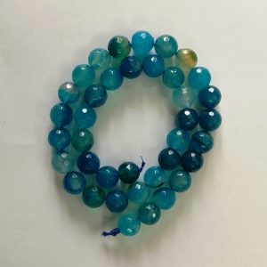Semi Precious Double Shade Blue With Baby Blue Zed Agate Beads