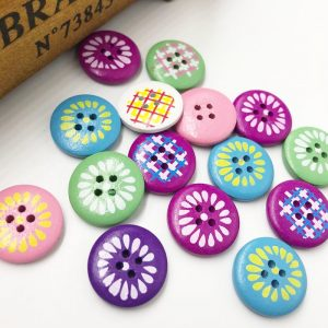 Mixed Round Painted Wooden Buttons