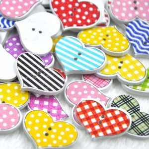 Mixed Heart Pattern Wooden Buttons