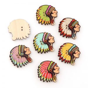 Native American Chief Wooden Button
