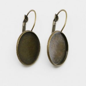 Antique Bronze Earring Round Base With French Style Clasps
