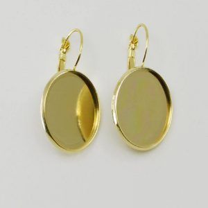Gold Earring Round Base With French Style Clasps