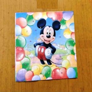 Mickey With Mixed Colour Balloons Decoupage Napkin