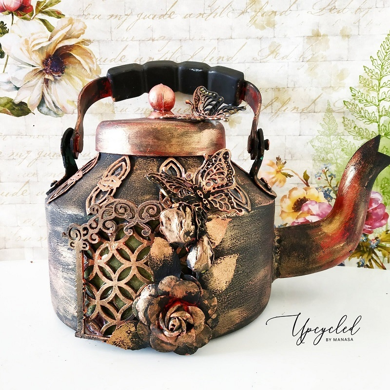 Mixed Media On Aluminium Kettle by Manasa Priya Yedla