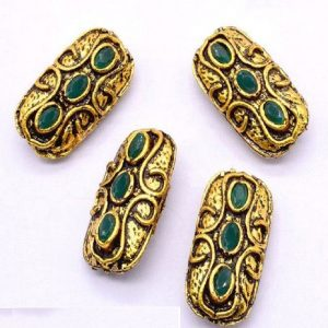 Victorian Beads - Rectangle With Green Stone