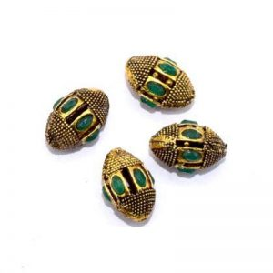 Victorian Beads - Oval With Green Stone
