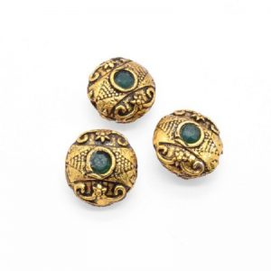 Victorian Beads - Round With Green Stone