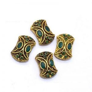 Victorian Beads - Emerald With Green Stone