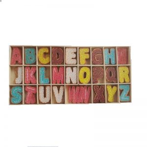 Mixed Colour Dessert Pattern Wooden Big Alphabets Letters