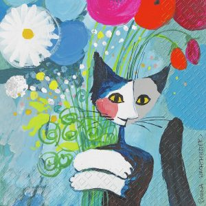 Painted Cat In The Garden Decoupage Napkin