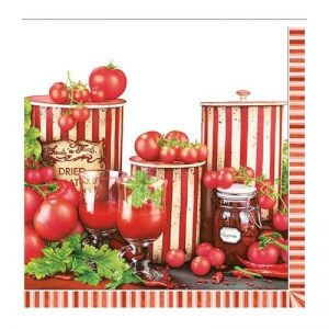 Tomatoes With Green Leafs Decoupage Napkin