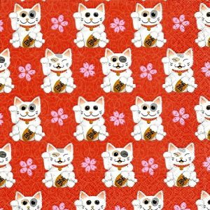 Good Luck Cat Decoupage Napkin