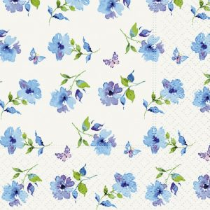 Small Blue Flowers With Blue Butterfly Decoupage Napkin