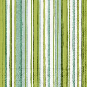Green And White Stripes Decoupage Napkin