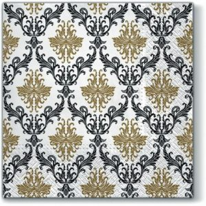 Paisley Pattern Black and Gold Decoupage Napkin