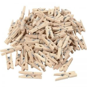 Natural Colour Wooden Clothespin Clips