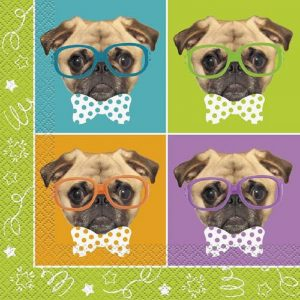Four Pug Puppies Decoupage Napkin