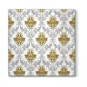 Paisley Pattern Grey and Gold Decoupage Napkin