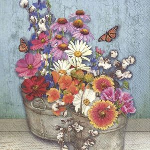 Flowers Pot Decoupage Napkin