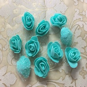 Turquoise Green Foam Rose Flowers
