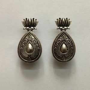 German Silver Tear Drop With Lotus Spacer Bead