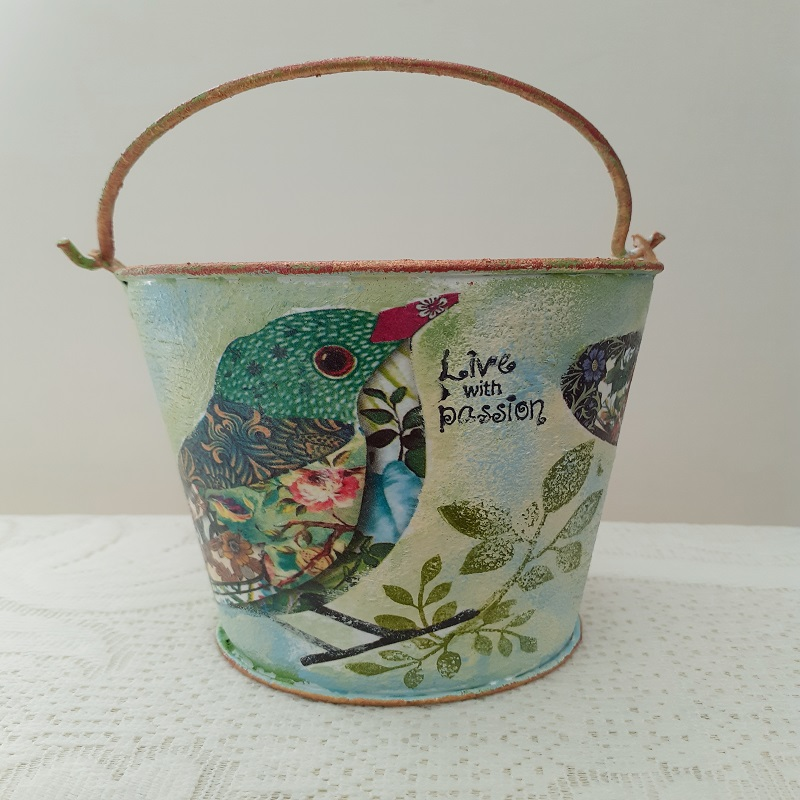 Decoupage On Metal Bucket by Vidhu Thareja