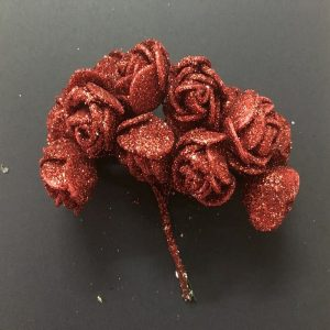 Glitter Foam Rose Flowers - Maroon