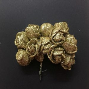 Glitter Foam Rose Flowers -Gold
